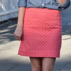 J crew | pink eyelet mini skirt women's size 0